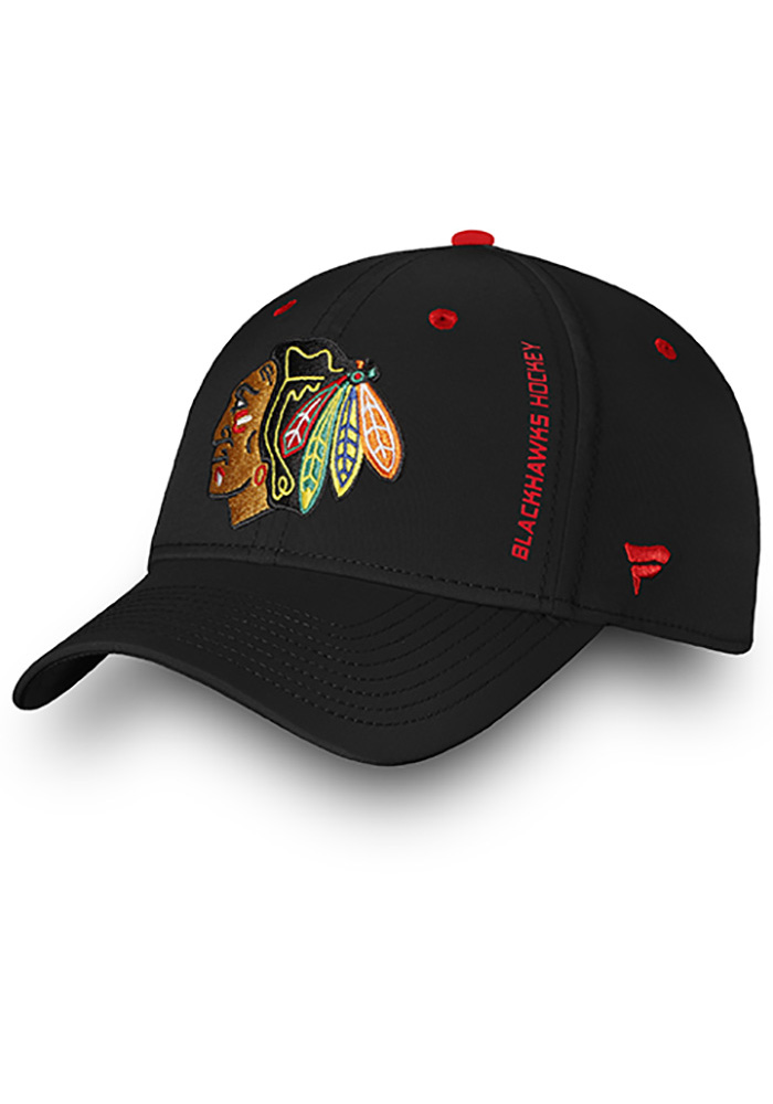 Chicago Blackhawks Mens Black Authentic Pro Rinkside Speed Flex Hat - Image 1