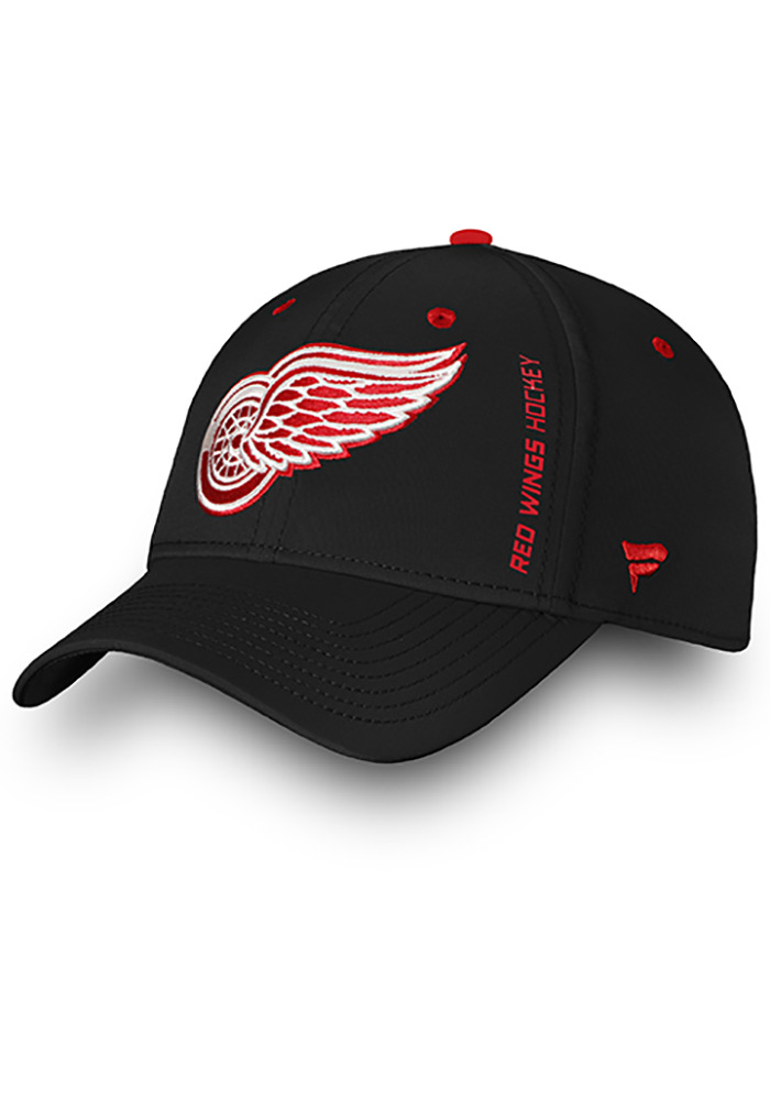 Detroit Red Wings Mens Black Authentic Pro Rinkside Speed Flex Hat - Image 1