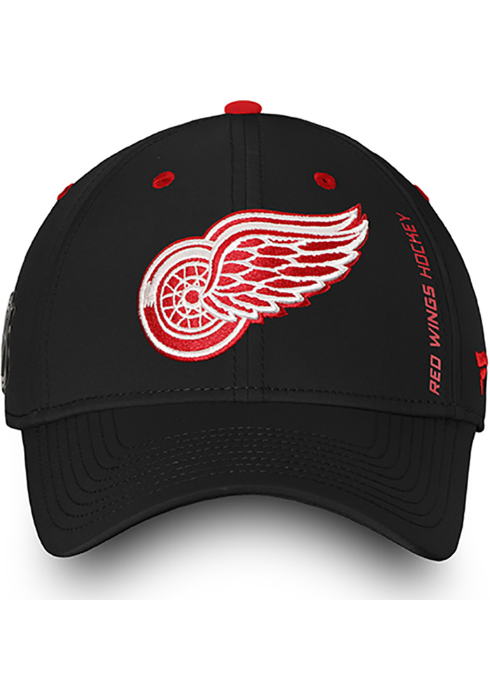 Detroit Red Wings Mens Black Authentic Pro Rinkside Speed Flex Hat - Image 2