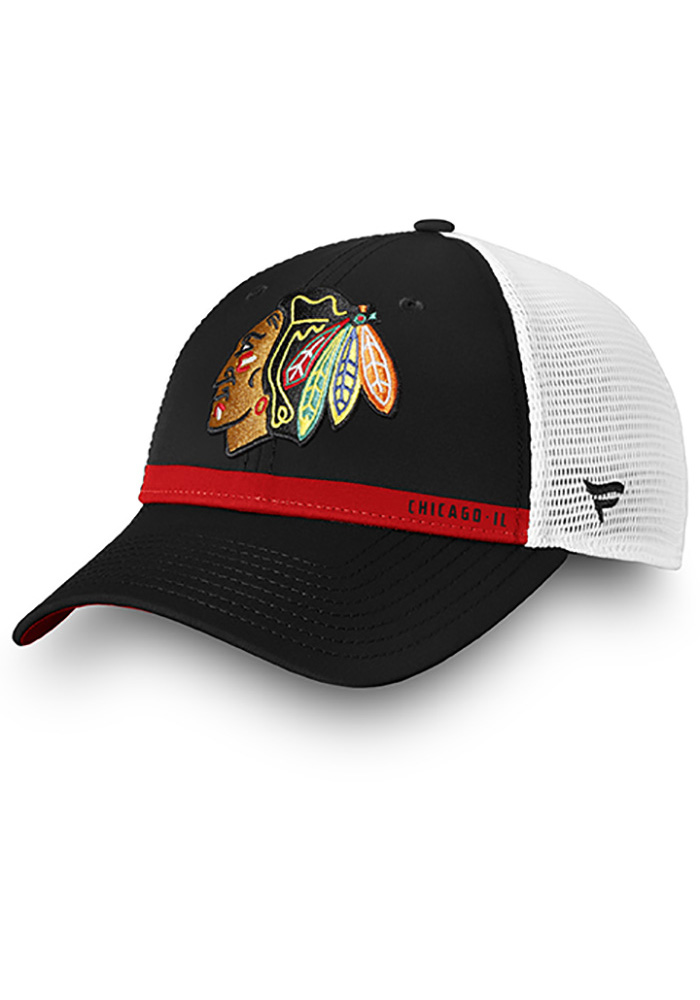 Chicago Blackhawks Authentic Pro Rinkside Trucker Adjustable Hat - Black - Image 1