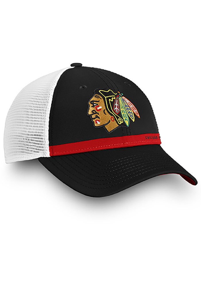 Chicago Blackhawks Authentic Pro Rinkside Trucker Adjustable Hat - Black - Image 3