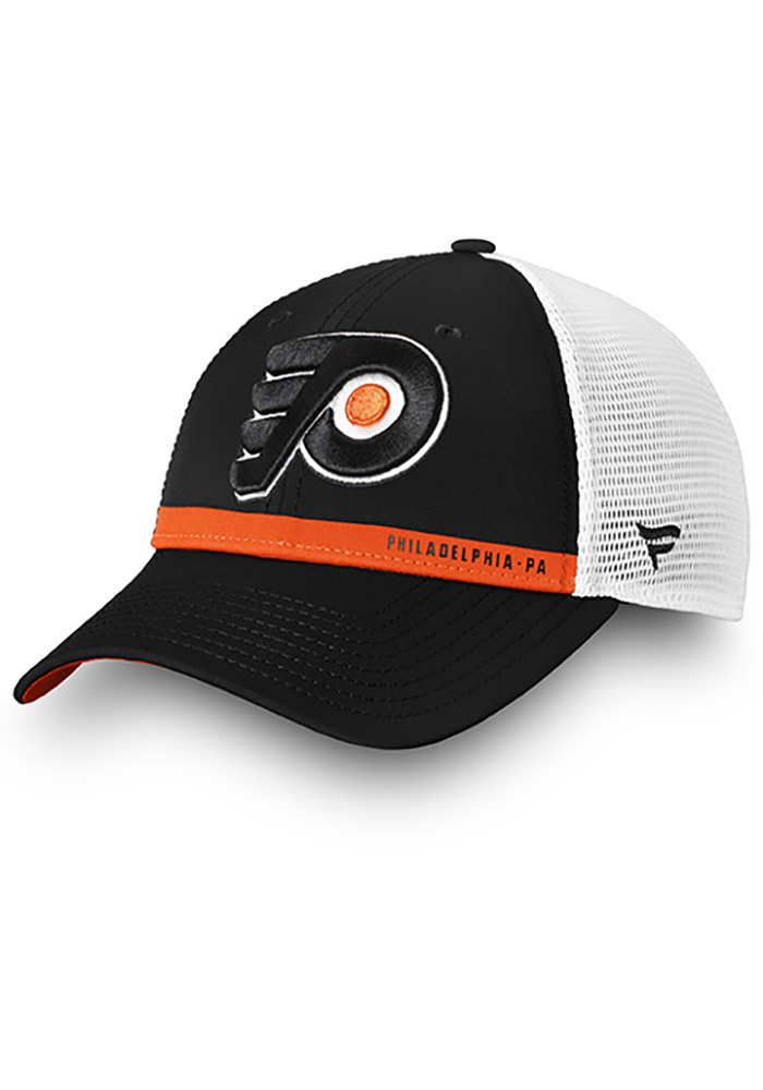 8458ce770cb Philadelphia Flyers Black Authentic Pro Rinkside Trucker Adjustable Hat