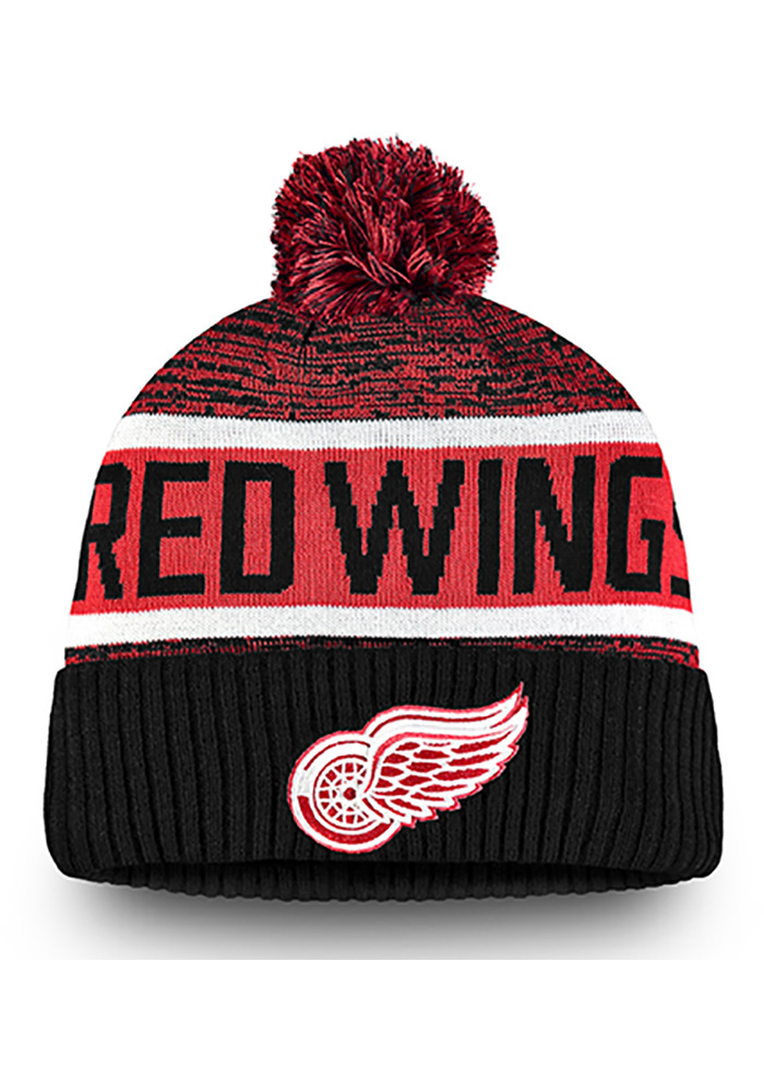 Detroit Red Wings Black Authentic Pro Rinkside Goalie Cuffed Mens Knit Hat - Image 1
