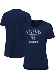 Sporting Kansas City Womens Iconic Slub Sequin T-Shirt - Navy Blue