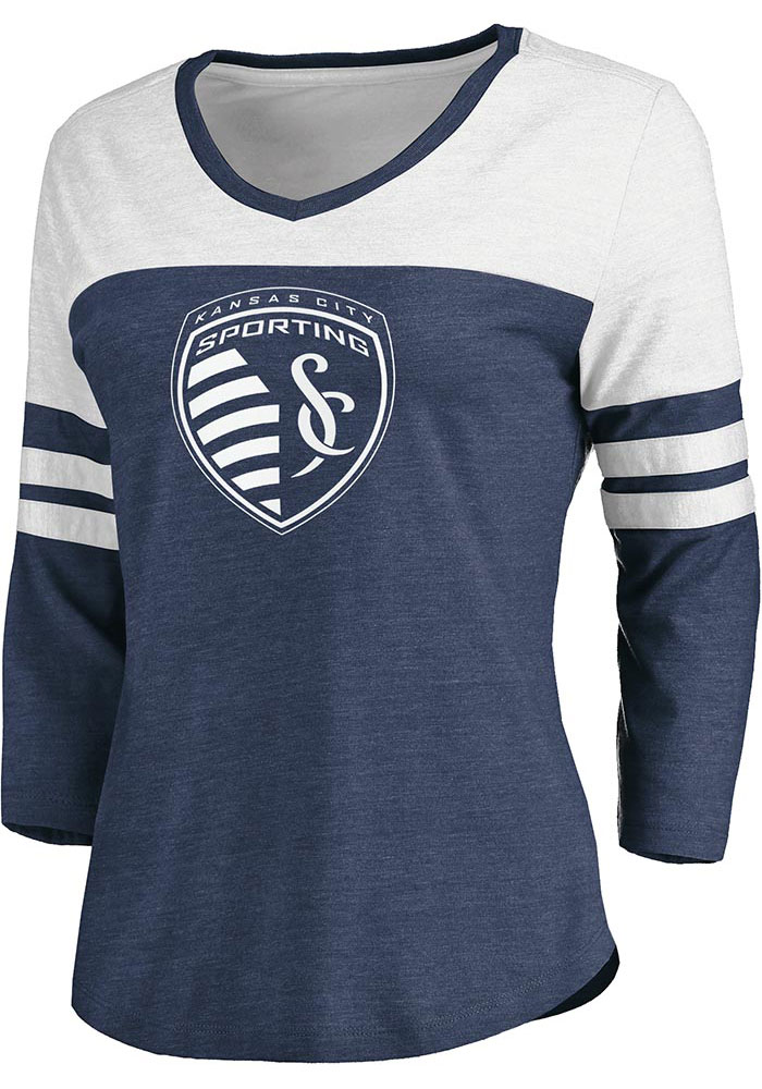 Sporting Kansas City Womens Triblend Flock Logo 3/4 Sleeve V T-Shirt - Navy Blue