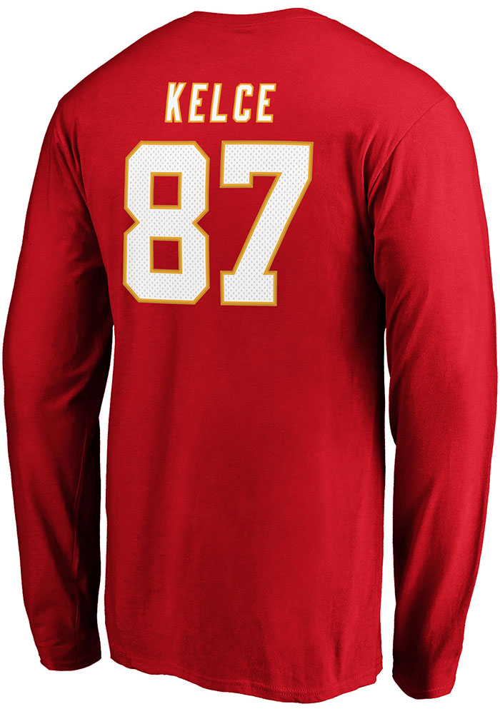 Travis Kelce Kansas City Chiefs Red Authentic Stack Long Sleeve Player T Shirt - Image 1