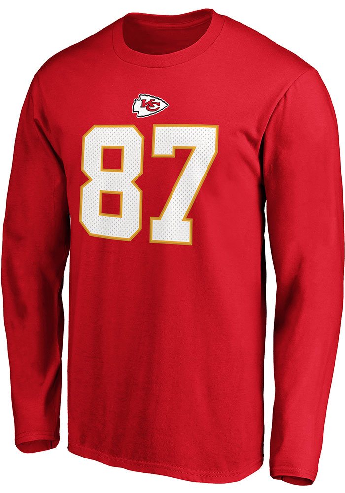 Travis Kelce Kansas City Chiefs Red Authentic Stack Long Sleeve Player T Shirt - Image 2