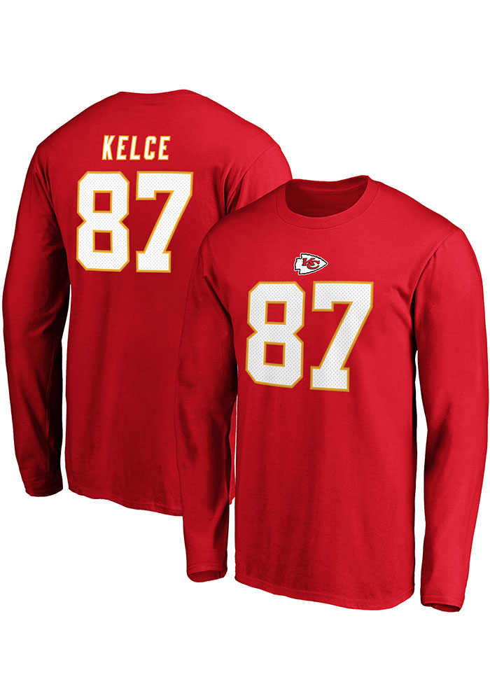 Travis Kelce Kansas City Chiefs Red Authentic Stack Long Sleeve Player T Shirt - Image 3