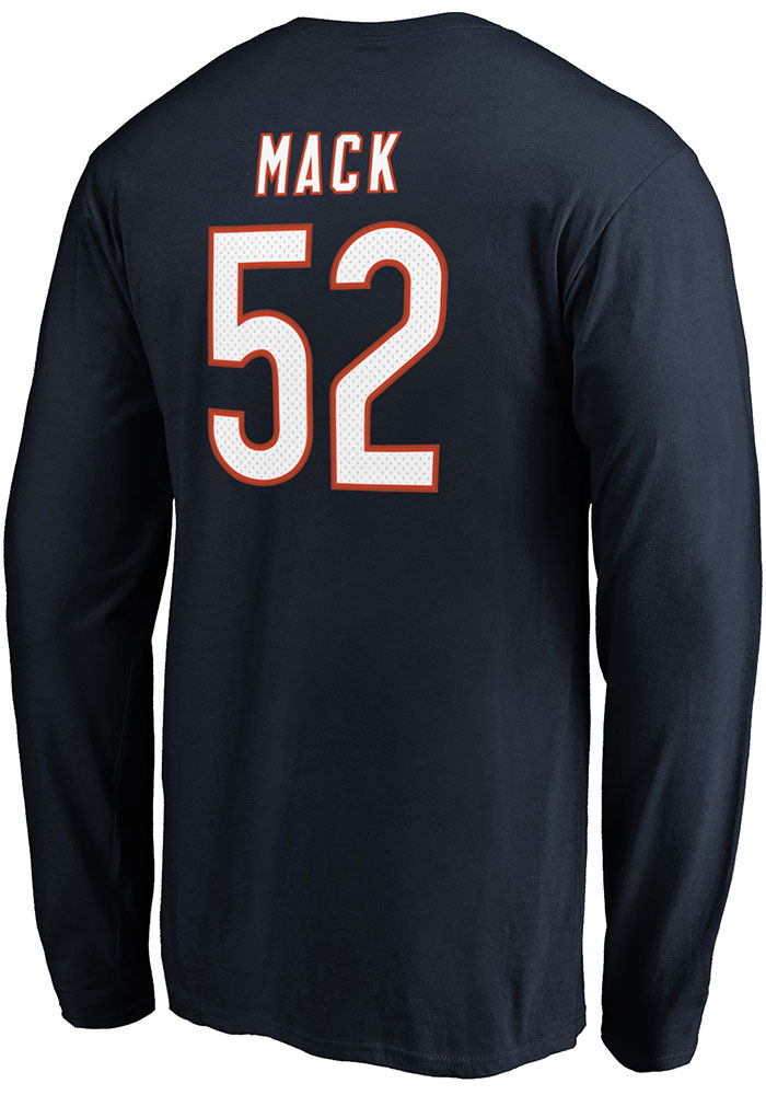 Khalil Mack Chicago Bears Navy Blue Authentic Stack Long Sleeve Player T Shirt - Image 1