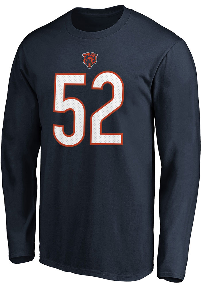 Khalil Mack Chicago Bears Navy Blue Authentic Stack Long Sleeve Player T Shirt - Image 2