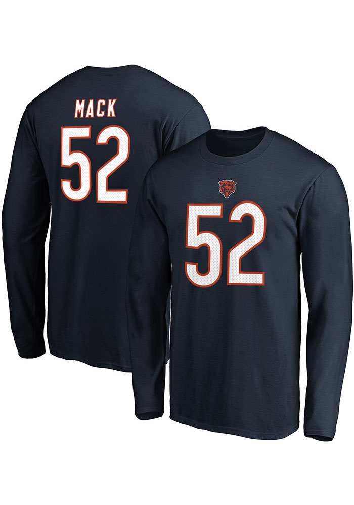 Khalil Mack Chicago Bears Navy Blue Authentic Stack Long Sleeve Player T Shirt - Image 3
