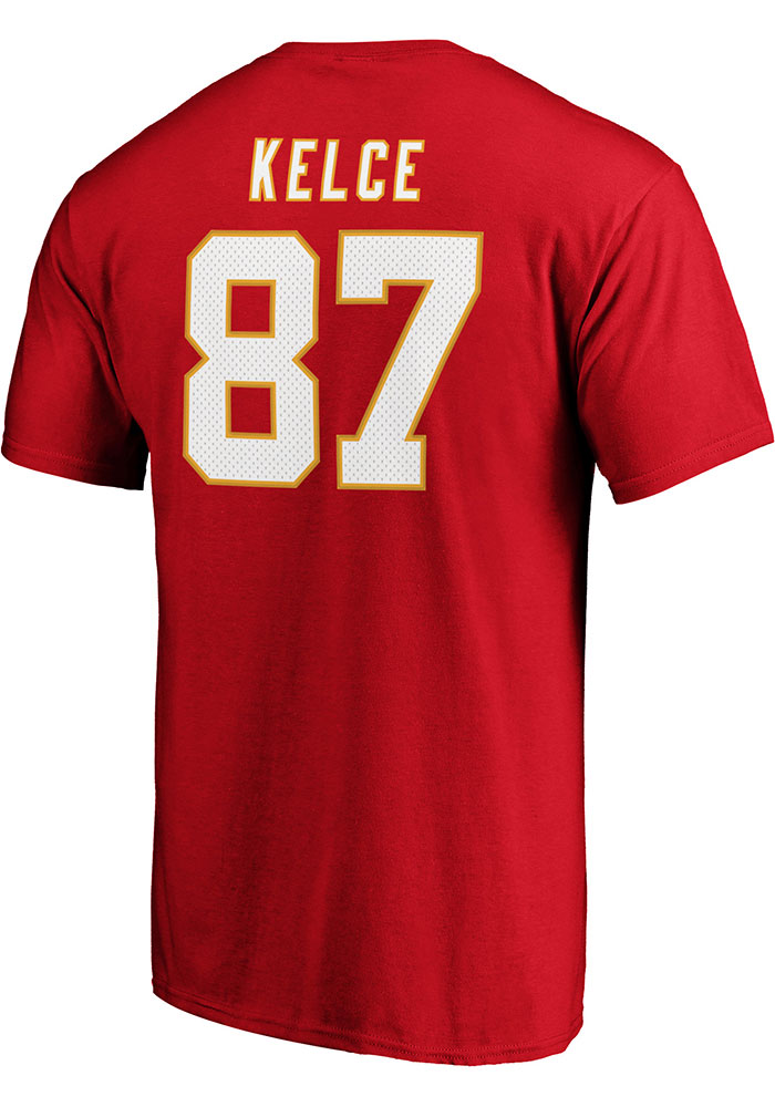 Travis Kelce Kansas City Chiefs Red Authentic Stack Short Sleeve Player T Shirt - Image 1
