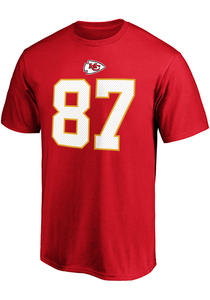 Travis Kelce Kansas City Chiefs Red Authentic Stack Short Sleeve Player T Shirt - Image 2