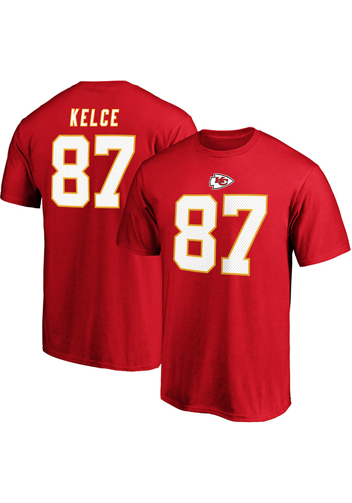 Travis Kelce Kansas City Chiefs Red Authentic Stack Short Sleeve Player T Shirt - Image 3