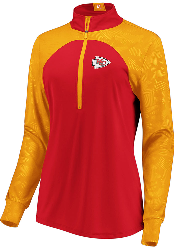 KC Chiefs Womens Red Defender Blocked 1/4 Zip Pullover - Image 1