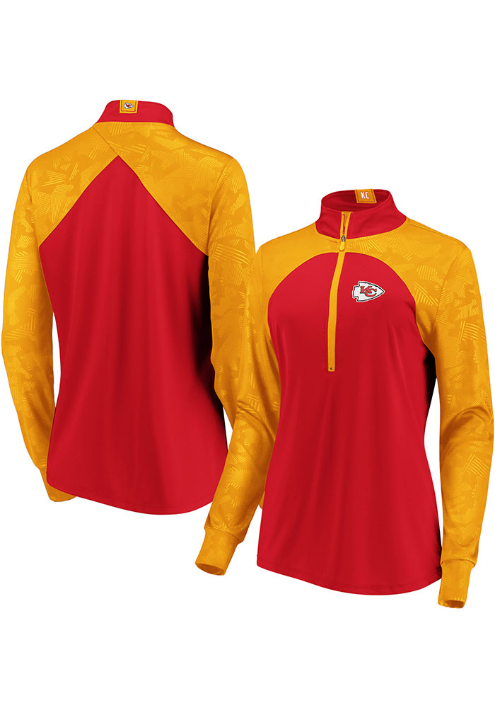KC Chiefs Womens Red Defender Blocked 1/4 Zip Pullover - Image 3
