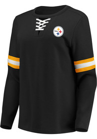 Pittsburgh Steelers Womens Lace Up Crew Sweatshirt - Black