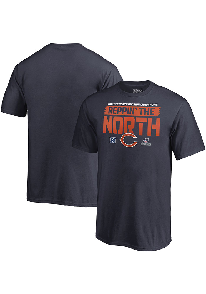 Chicago Bears Navy Blue 2018 Division Champions Fair Catch Short Sleeve T Shirt - Image 1