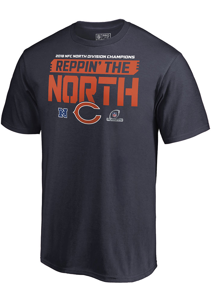Chicago Bears Navy Blue 2018 Division Champions Fair Catch Short Sleeve T Shirt - Image 2