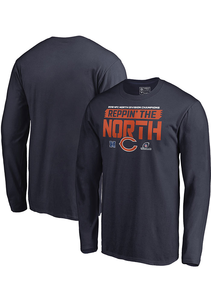 Chicago Bears Navy Blue 2018 Division Champions Fair Catch Long Sleeve T Shirt - Image 1