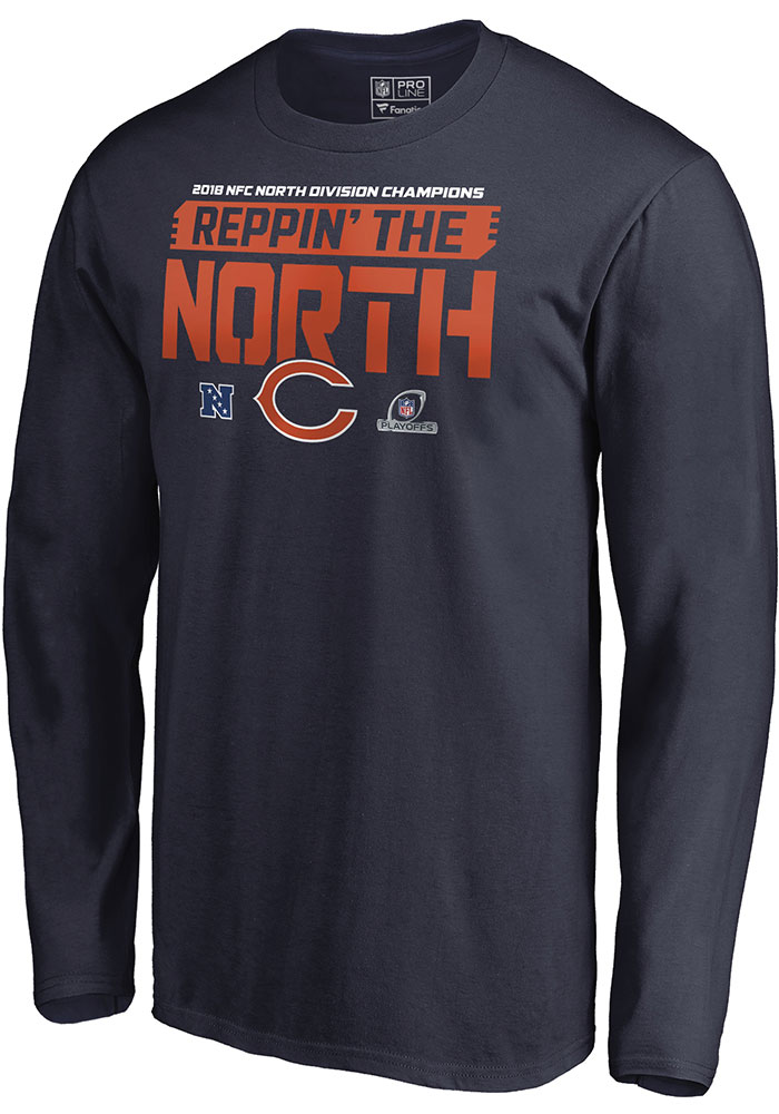 Chicago Bears Navy Blue 2018 Division Champions Fair Catch Long Sleeve T Shirt - Image 2