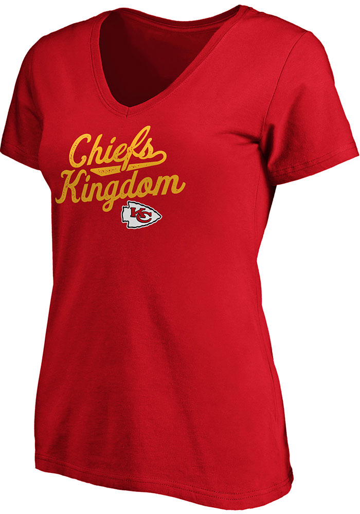 Kansas City Chiefs Womens Red Reign Short Sleeve T-Shirt - Image 1