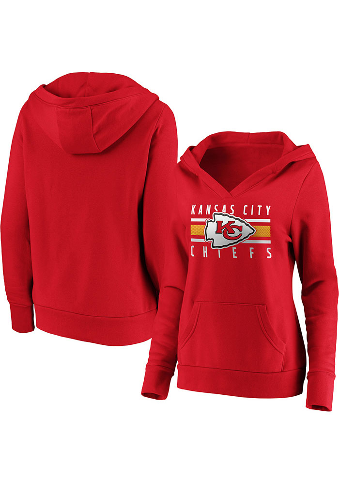 Kansas City Chiefs Womens Red Stacked Hooded Sweatshirt - Image 1