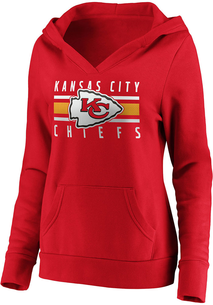 Kansas City Chiefs Womens Red Stacked Hooded Sweatshirt - Image 2