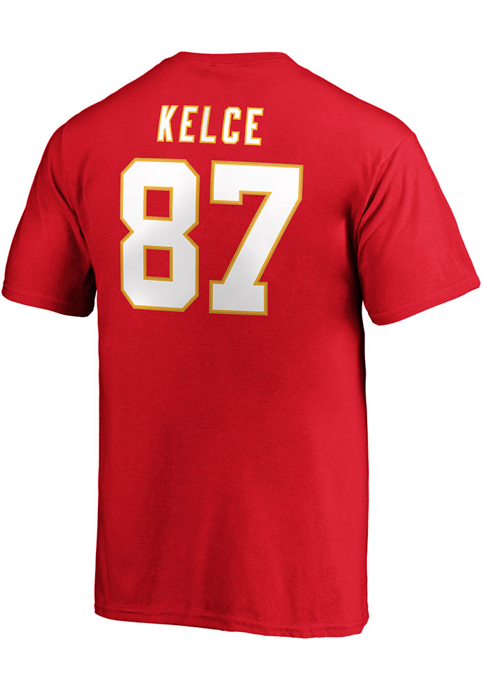 Travis Kelce Kansas City Chiefs Youth Red 2019 Super Bowl LIV Halfback Player Tee - Image 1