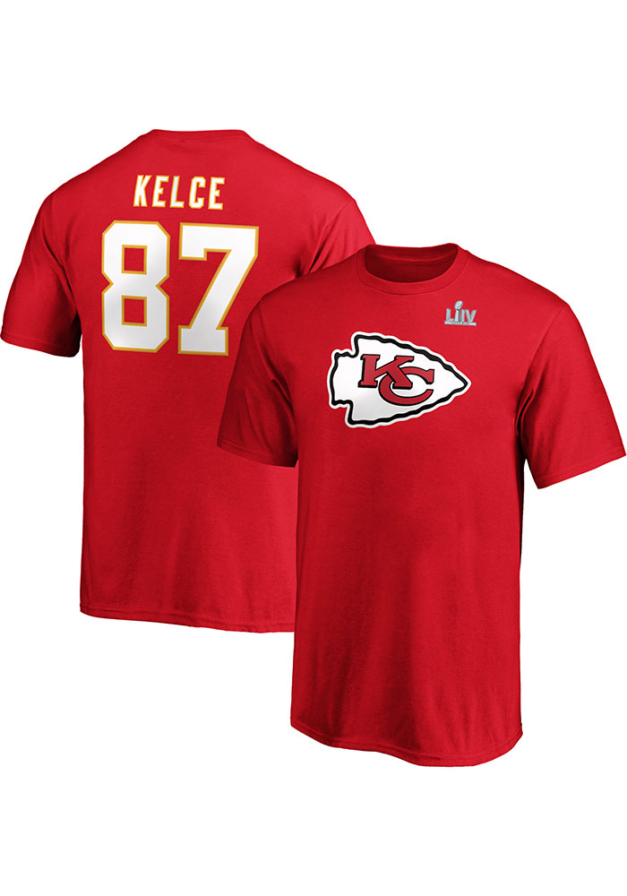 Travis Kelce Kansas City Chiefs Youth Red 2019 Super Bowl LIV Halfback Player Tee - Image 3