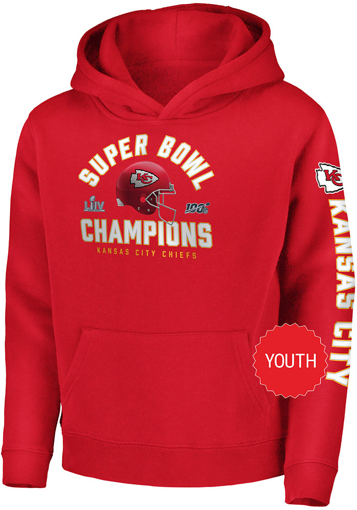 Kansas City Chiefs Youth Red Super Bowl LIV Champions Long Sleeve Hoodie - Image 1
