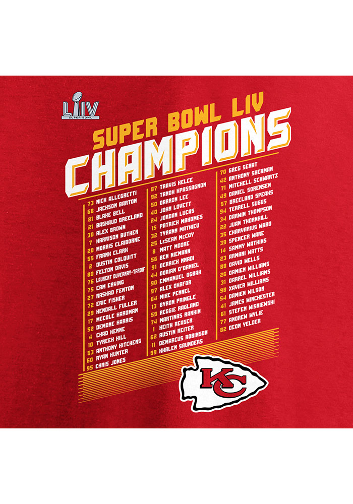 Kansas City Chiefs Youth Red Super Bowl LIV Champions Short Sleeve T-Shirt - Image 3