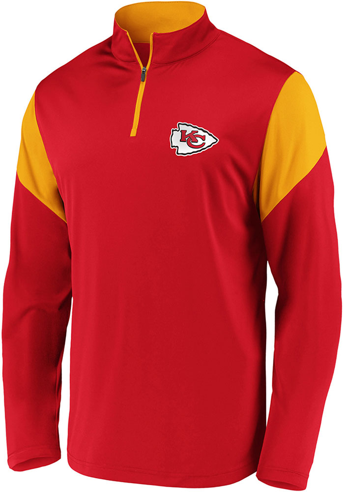 Kansas City Chiefs Mens Red Poly Interlock Long Sleeve 1/4 Zip Pullover - Image 1