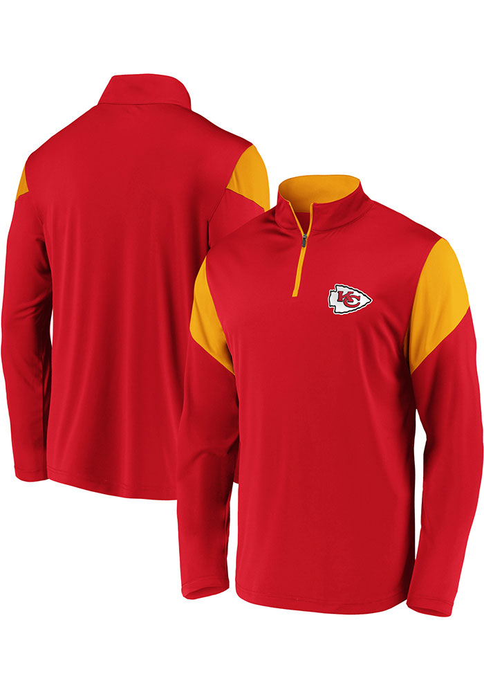 Kansas City Chiefs Mens Red Poly Interlock Long Sleeve 1/4 Zip Pullover - Image 3