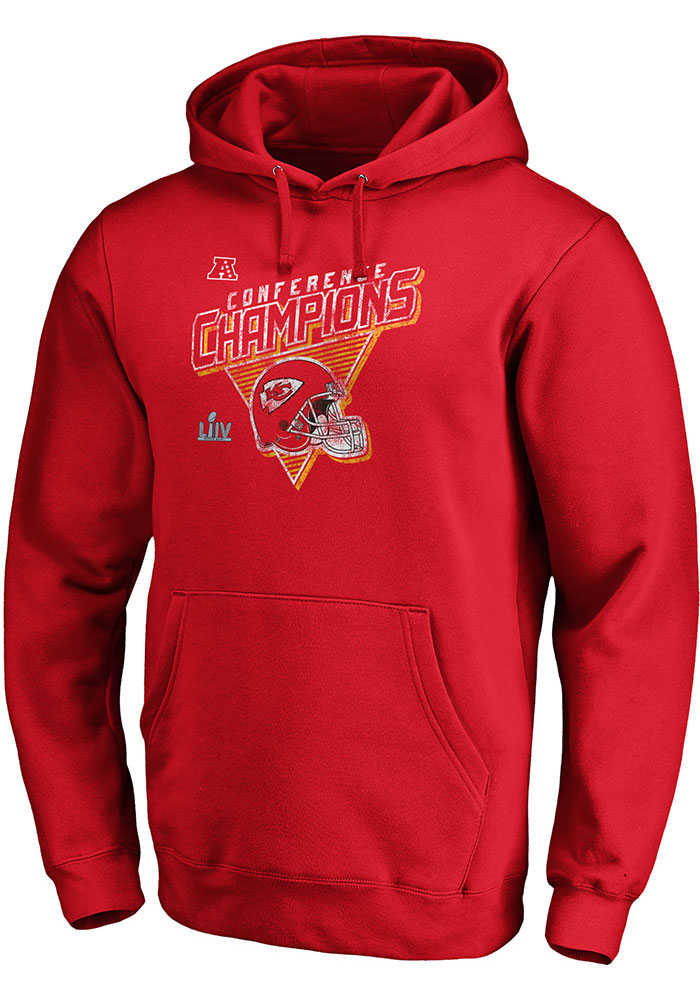 Kansas City Chiefs Mens Red 2019 Conference Champions Fair Catch Long Sleeve Hoodie - Image 1