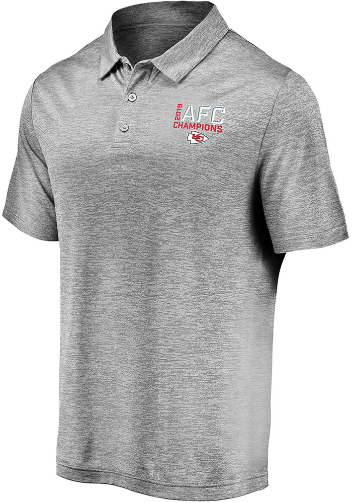 Kansas City Chiefs Mens Grey 2019 Conference Champions Third Down Short Sleeve Polo - Image 1