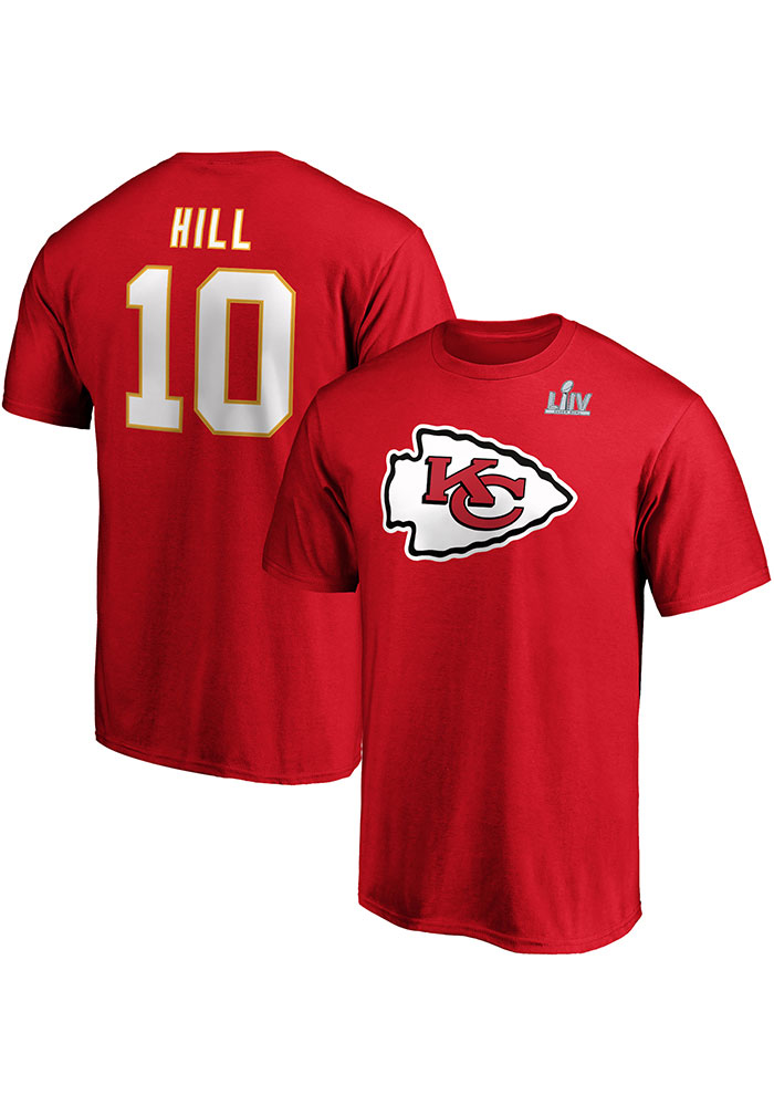 Tyreek Hill Kansas City Chiefs Red 2019 Super Bowl LIVParticipant Half Back Short Sleeve Player T Shirt - Image 3