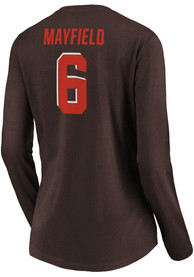 Baker Mayfield Cleveland Browns Womens Authentic Stack Name and Number Long Sleeve T-Shirt - Brown