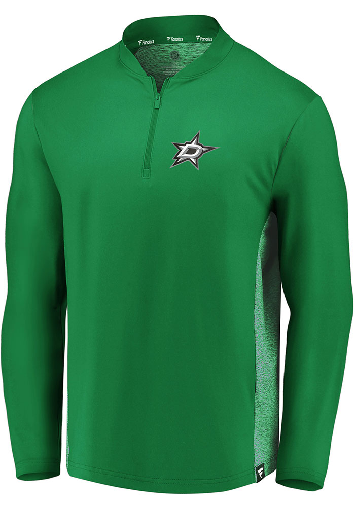 Dallas Stars Mens Green Iconic Clutch Long Sleeve 1/4 Zip Pullover - Image 1