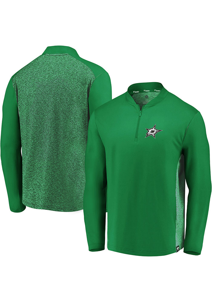 Dallas Stars Mens Green Iconic Clutch Long Sleeve 1/4 Zip Pullover - Image 3