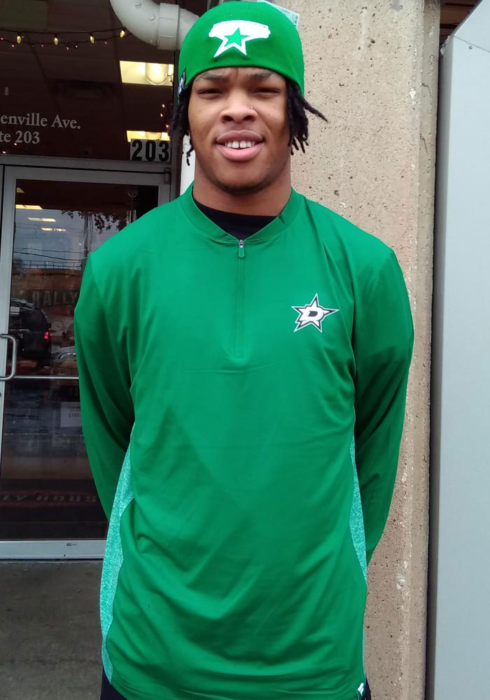 Dallas Stars Mens Green Iconic Clutch Long Sleeve 1/4 Zip Pullover - Image 4
