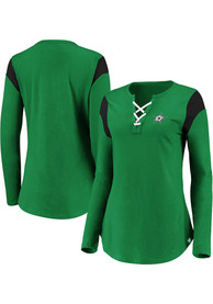 Dallas Stars Womens Lace Up Green LS Tee