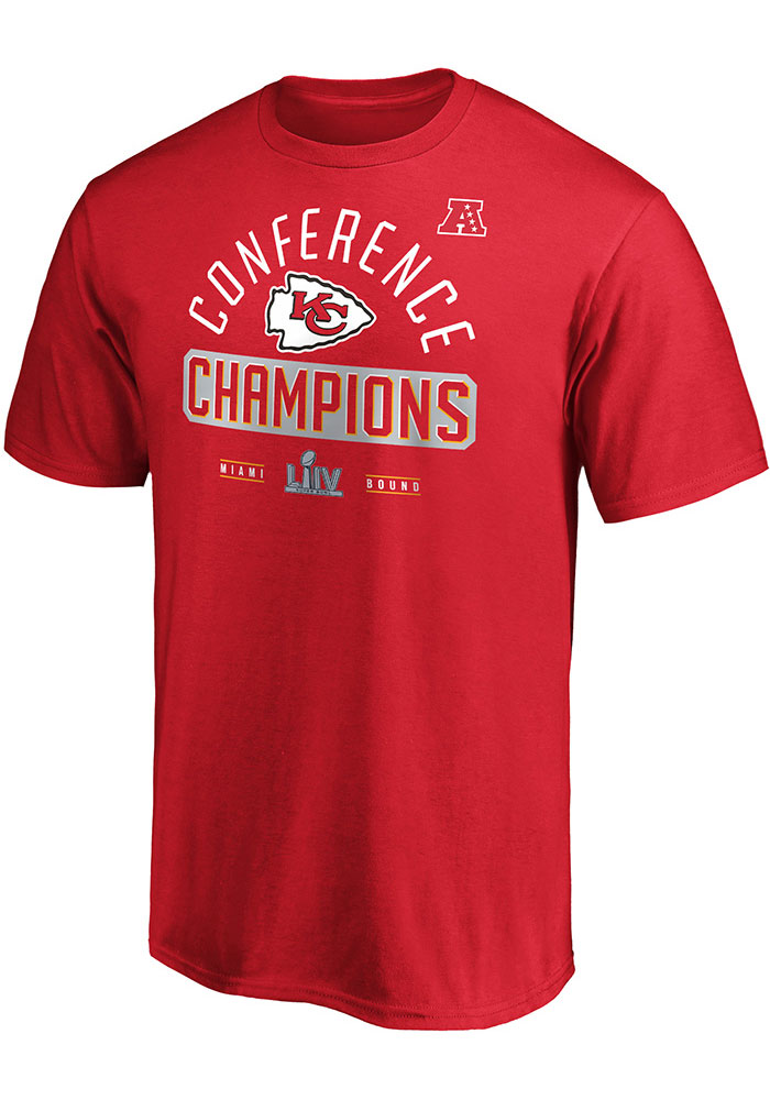 Kansas City Chiefs Red 2019 Conference Champions First Down Short Sleeve T Shirt - Image 1