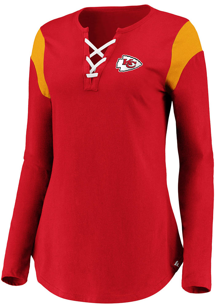 Kansas City Chiefs Womens Red Lace Up LS Tee - Image 2