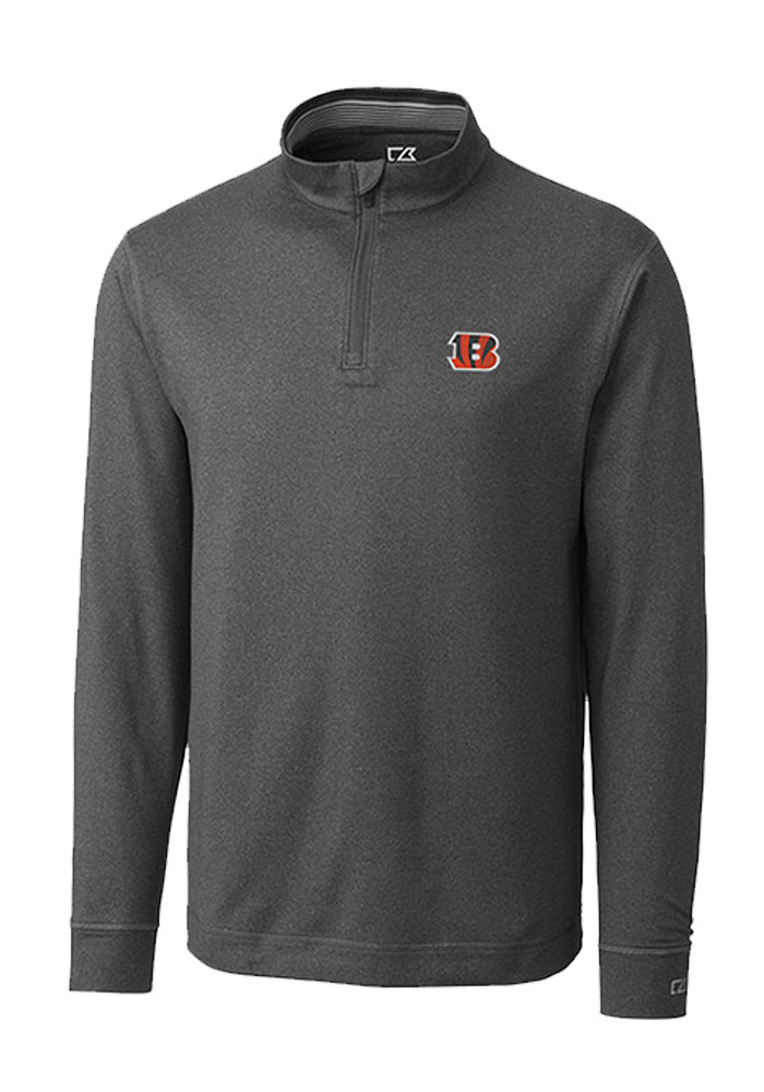 Cutter and Buck Cincinnati Bengals Mens Charcoal Topspin Long Sleeve 1/4 Zip Pullover - Image 1
