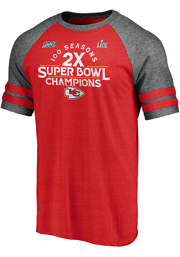 Kansas City Chiefs Red Super Bowl LIV Champions Scrimmage Short Sleeve Fashion T Shirt - Image 1