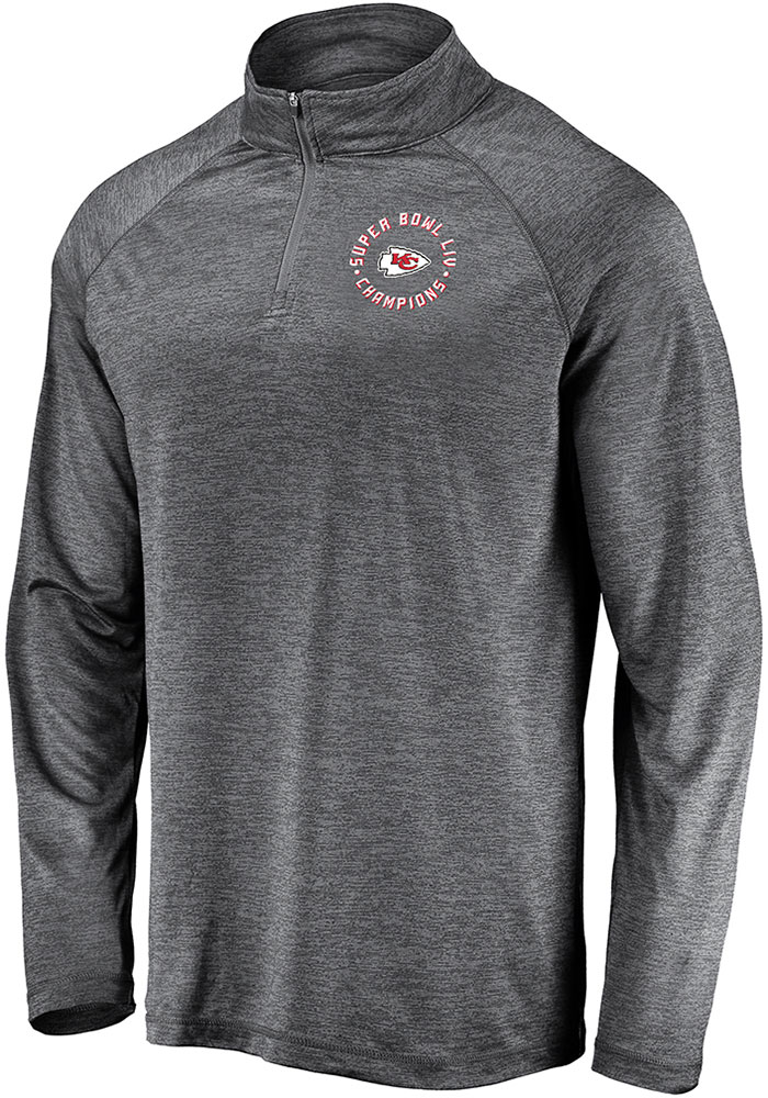 Kansas City Chiefs Mens Grey Super Bowl LIV Champions Motion Long Sleeve 1/4 Zip Pullover - Image 1