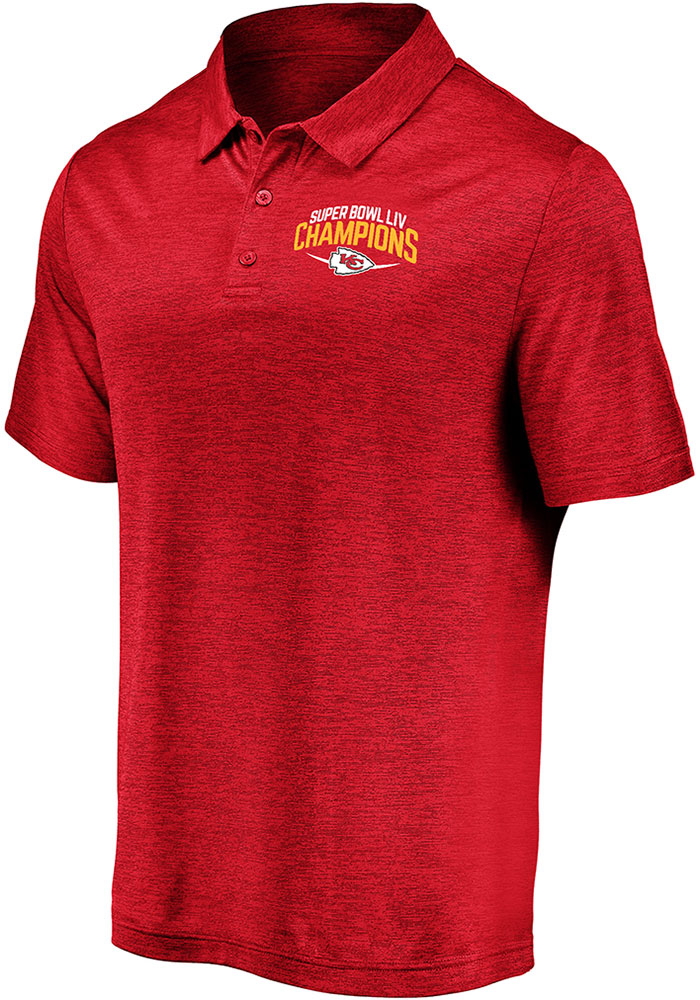 Kansas City Chiefs Mens Red Super Bowl LIV Champions Replay Short Sleeve Polo - Image 1