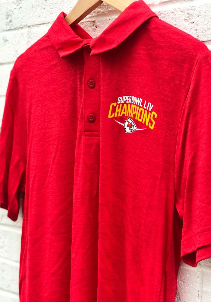 Kansas City Chiefs Mens Red Super Bowl LIV Champions Replay Short Sleeve Polo - Image 3