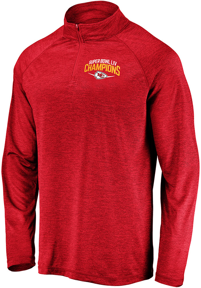 Kansas City Chiefs Mens Red Super Bowl LIV Champions Replay Long Sleeve 1/4 Zip Pullover - Image 1